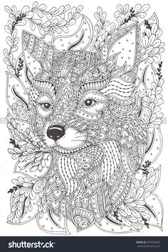 Fox. Hand-drawn with ethnic floral doodle pattern. Coloring page - zendala, design for spiritual relaxation for adults, vector illustration, isolated on a white background. Zen doodles. #497850802 - Larastock