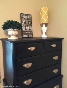 What a fun DIY dresser makeover with spray paint and new hardware. I can't believe the transformation!   Green With Decor