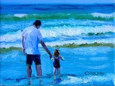 "Seascape Artists International: Beach Scene, Beach Art ,Figurative ""Wave Jumping"" by Colorado Artist Carol Hein"