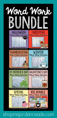 Bundle of MsJordanReads Holiday Word Work Activities | Reinforce phonics, decoding, fluency, and vocabulary in the classroom with your students using this collection of fun holiday and season-themed literacy activities. | Includes word sorts, sentence building, word puzzles, making words, and roll & read tasks. Perfect for literacy centers and independent word work practice.