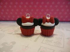 Polymer clay minnie mouse cupcake charms from Ellesse's Creations