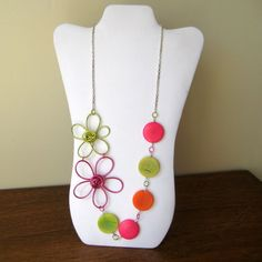Free Form Pink and Green Wire Flower Necklace by DesignswithDazzle, $32.00