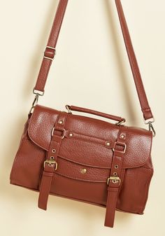 Buckle Down the Satchels Bag in Clay. You like to be prepped for any occasion, and with the strap of brown bag slung over your shoulder, you can be! #brown #modcloth