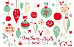 Christmas Balls Clipart scrapbook Holiday Clipart Christmas