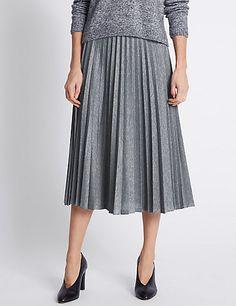 Pleated A-Line Midi Skirt   M&S