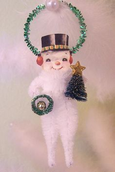 Snowman Vintage Style Chenille Feather Tree Ornament