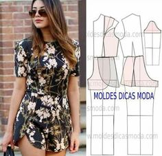 Ideas How To Cut Clothes Tutorials Patterns Fashion Sewing, Diy Fashion, Ideias Fashion, Cut Clothes, Sewing Clothes, Jumpsuit Pattern, Pants Pattern, Clothing Patterns, Dress Patterns