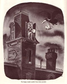 The happy couple couldn't have been prouder. Illustration by Charles Addams, Cosmopolitan, August 1952 Original Addams Family, Addams Family Cartoon, Dark Humor Comics, Scary Art, Weird Art, Charles Addams, Beautiful Dark Art, Cartoon Books, Adams Family