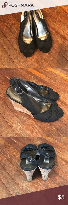 """Steve Madden Wedges Black wedges with 4.5"""" heel Steve Madden Shoes Wedges"""