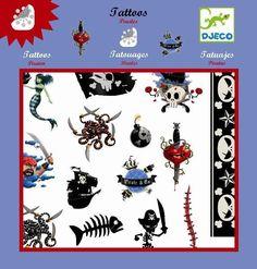 Tatuajes Piratas;  ¡Para ser un auténtico pirata debes hacerte un tatuaje! Djeco te ofrece varios con los que creerás que eres todo un capitán con una gran tripulación a tu cargo. Mira estos originales dibujos hechos tatuajes. Son muy fáciles de quitar cuando quieras cambiártelos.¡... En   http://www.opirata.com/tatuajes-piratas-p-28989.html