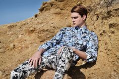 Panagiotis Mitsakos (VNmodels) photographed by Thanos Houtos at iconizo, and styled by Ross Sgouros with pieces from Ted Baker, H, Asos, KTZ, Rococo and more, for Fucking Young! Online.