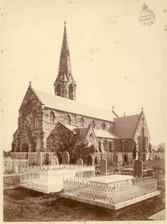 St Stephen's Church in  Newtown in inner west of  Sydney in 1875. Dictionary of Sydney.