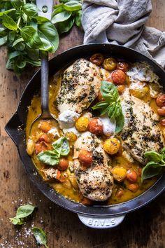 Cheesy Tomato Basil Stuffed Chicken | halfbakedharvest.com #chicken #easy #recipes via @hbharvest