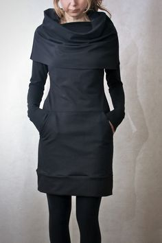 Black Cowl Neck Pocket Tunic Dress - Modern