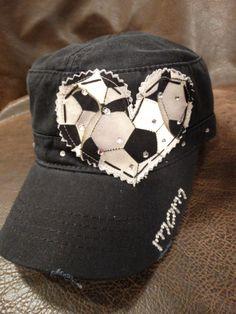 94c7a195c158f Soccer Mom LOVE Crystal Distressed Cadet Cap