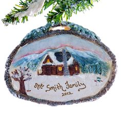 Log Cabin Christmas ornament  personalized free by Christmaskeeper, $14.95