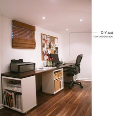 Three IKEA units are used in this office to create a custom work area. #HomeOffice
