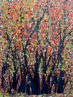 AUTUMN FOREST an original mixed media landscape nature tree art painting by Swanah. $145.00, via Etsy.
