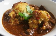Hands Down...the VERY BEST chili beef stew recipe EVER! Homemade Smoky Chili Braised Beef With Cornbread and Coriander Dumplings