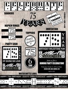 Domino Birthday Party Set  Printable Party by LemonSquaredLemons Birthday For Him, 90th Birthday Parties, 60th Birthday Party, Wine Birthday, Husband Birthday, Party Items, Printable Party, Birthday Decorations, Purim 2017