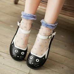 New Women Girl Cute Cat's face Flats Shallow Round toe Sandals Buckle Full  Size