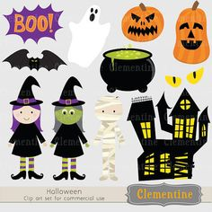 Halloween clip art ghost clip art pumpkin par ClementineDigitals, $5,00 Halloween Templates, Halloween Clipart, Halloween Pictures, Word Art, Superhero Logos, Art Images, Witch, Clip Art, Quilts
