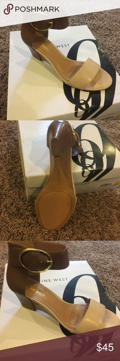 Nine West leather sandal Beautiful tan and cream nine west leather sandal. Never worn! Nine West Shoes Sandals