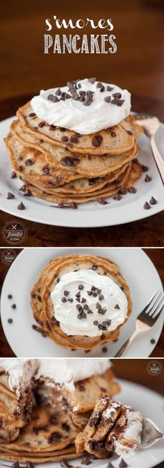 Start your morning off with a sinful treat of S'mores Pancakes made from graham cracker chocolate chip pancakes topped with homemade marshmallow creme. Köstliche Desserts, Delicious Desserts, Dessert Recipes, Yummy Food, Fudge Recipes, Candy Recipes, Chocolate Graham Crackers, Chocolate Chip Pancakes, Chocolate Tarts