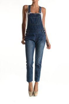 Classic Dark Wash Cropped Fashion Jumpsuit Denim Overalls