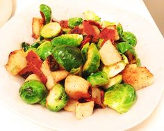 Brussel Sprouts with Asian Pears  Bacon #recipe