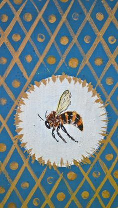 illustration of a honey bee with blue and gold background. #bees