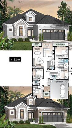 Exterior Shutters On Stone House - - Exterior De Casas Cafe - Sims 4 House Plans, House Layout Plans, New House Plans, Dream House Plans, Modern House Plans, Small House Plans, House Layouts, Modern House Design, House Floor Plans