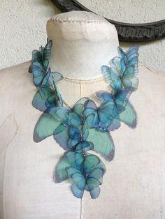 Aquamarine Morpho  Handmade Silk Organza Butterflies and