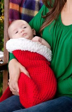 Holiday Baby Cocoon Free Crochet Pattern from Red Heart Yarns