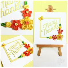 """Pretty thank you card with a """"Many Thanks""""die cut greeting with yellow and orange quilled flowers. A lovely unique handmade card to say thank you.  #thanks #quilling #papercraft #etsy #handmade #readytopost"""