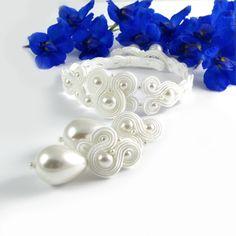#pearls #soutache #white #bridal #set #wedding #bride #slub #slubne #bizuteria #kolczyki #perły  #ivory www.pillowdesign.pl
