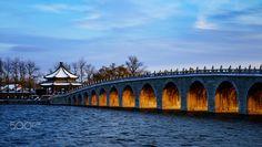 Sunset bridge - sun light through an old chinese bridge in summer palace in beijing. Old Summer Palace, Chinese Bridge, Sun Light, Beijing, Sunset, Travel, Sunlight, Viajes, Destinations