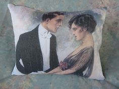 1920's ROMANTIC COUPLE SMALL PILLOW print taken from an old painting