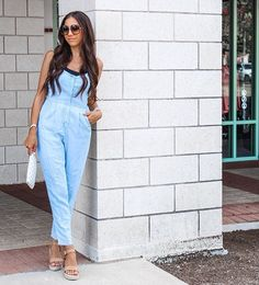 Baby blue jumpsuit with pockets for spring or fall Spring Fashion Outfits, Fall Outfits, Summer Outfits, Cute Outfits, Fashion Beauty, Fashion Tips, Fashion Bloggers, Blue Jumpsuits, Confident Woman