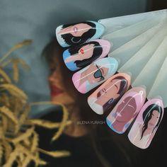 Shellac Nail Designs, Shellac Nails, Disney Nail Designs, Nail Art Designs, Marvel Nails, Picasso Nails, Diy Acrylic Nails, Nail Logo, Nail Art Videos