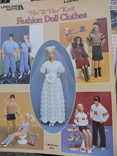 Leisure Arts His and Her Knit Fashion Doll Clothes Leaflet 341 Knitting Pattern Book DIY Gift Idea Wedding Dress Cheerleader Outfit Leotard Doll Clothes Patterns, Doll Patterns, Knitting Designs, Knitting Patterns, Crochet Patterns, Knit Fashion, Fashion Dolls, Girl Dolls, Barbie Dolls