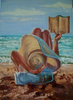 """ SUMMER RELAX IN THE SUN ... "" SEA original painting palette knife GIFT MODERN URBAN ART OFFICE ART DECOR HOME DECOR GIFT IDEA (2016) Oil painting by Monika Luniak | Artfinder"