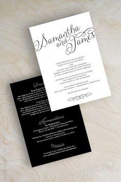 Simple Black and White Script Names Wedding Invitations. www.appleberryink.com