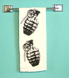Kitchen Towel  Grenade  Black  Screen Printed Home by MoxieMadness, $10.00