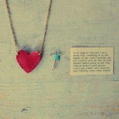 Collana cuore rosso Pendente cuore rosso in pelle  - WODO on Etsy, 25,00€