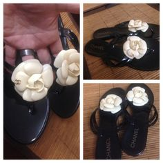 Black with White Camellia Flower Sandals Size 10 BEAUTIFUL! Black Sandals with White Camellia Flowers at front- gold cc logo atop of each flower. Brand New, never worn. No box- PERFECT FOR THE SUMMER! CHANEL Shoes Sandals