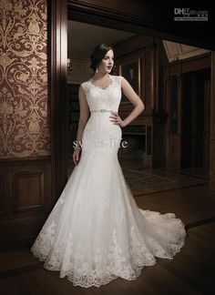 2014 New Style High Neck Mermaid Wedding Dresses Bridal Gowns Dresses for Chapel Wedding Bride Vintage Lace Court Train Charming Cheap Satin