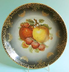Vintage German Bavarian Mitterteich Porcelain Fruit Plate - Apples Strawberries