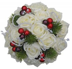 http://www.sarahsflowers.co.uk/bridesmaids-bouquets/handtied-posies/ivory-rose-bridemaids-bouquet-for-christmas-theme/prod_7332.html  Christmas wedding bouquet suitable for any Christmas or winter theme. Featuring in this bridesmaids bouquet are green lush spruce foliage, Christmas berries, ivory roses, with loops of pearls and bead branches on silver wire. The handle is neatly covered with ivory luxury ribbon with a matching handmade bow.