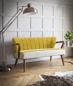 Mustard sofa Tallulah Two Seater Sofa: Mouthwatering mustard yellow velvet and linen art deco come mid-century modern style couch with sexy scallop shaped back